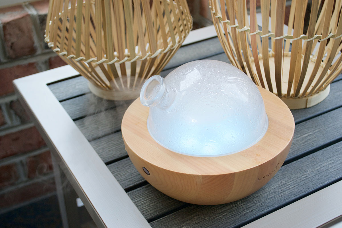 oil diffuser on patio table
