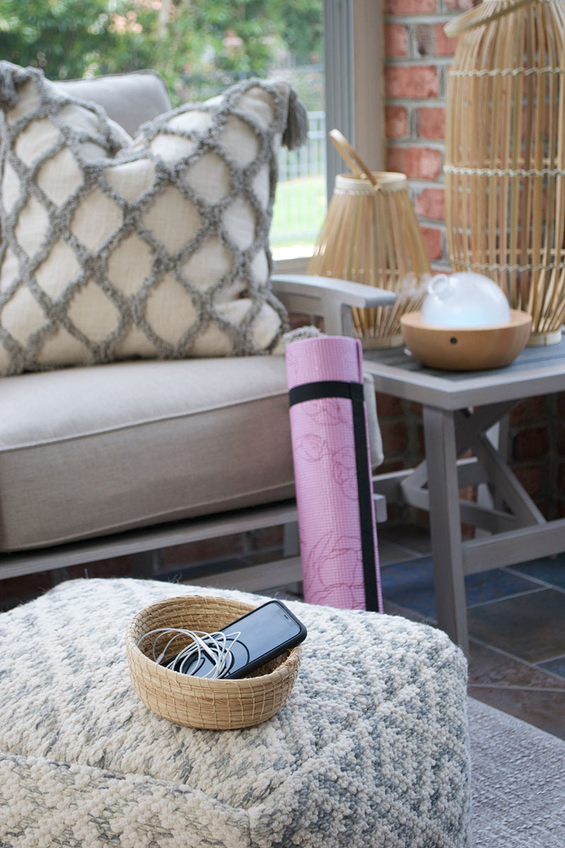 patio furniture with iphone and headphones