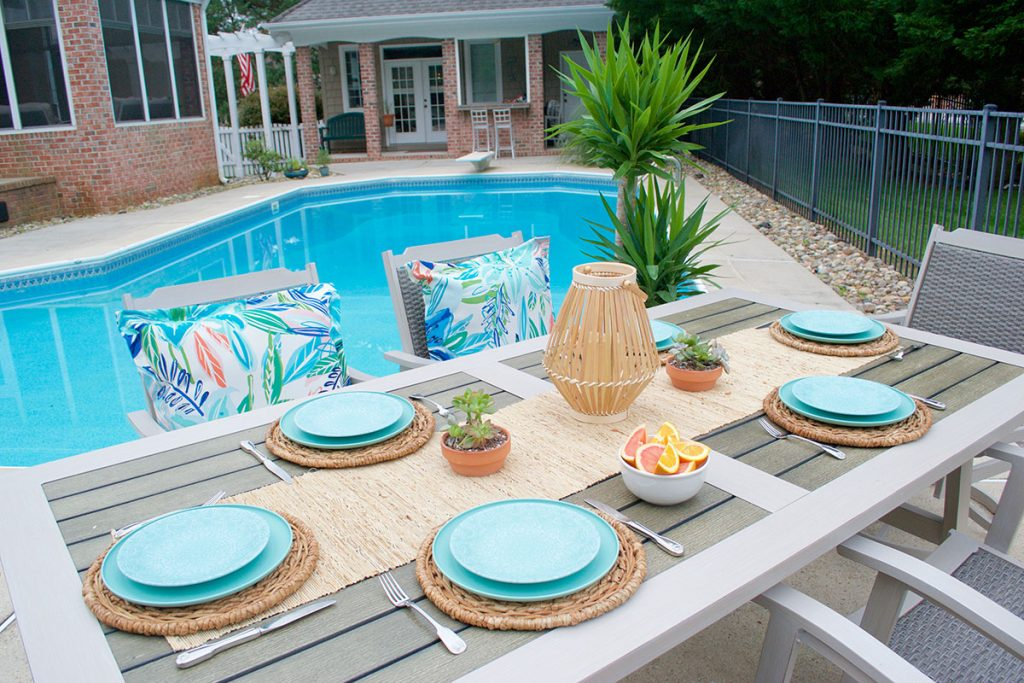 patio table with chairs and brighter color accents
