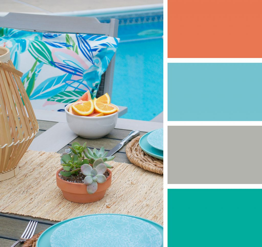 patio table image with summer color pallete