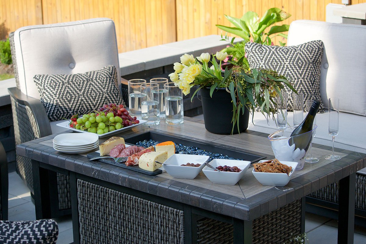 outdoor patio with flowers and food